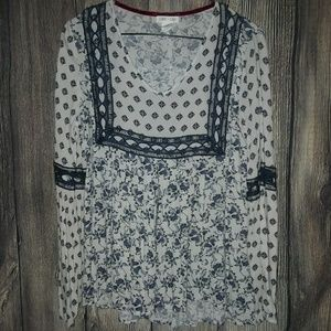 Tops - Clover + Scout Blue & White Boho Blouse